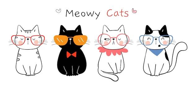Нарисуйте забавного кота doodle мультяшном стиле