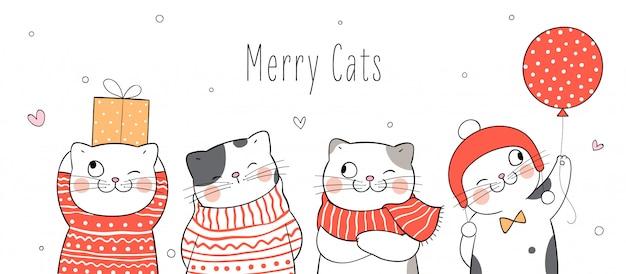크리스마스와 새해에 재미있는 고양이를 그립니다.