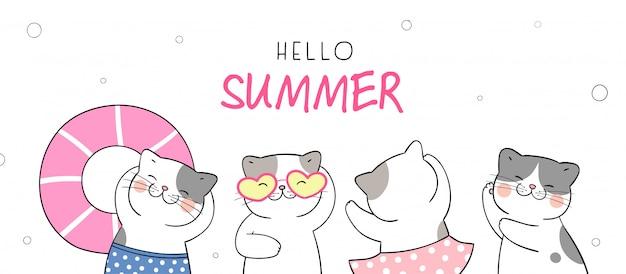 Нарисуйте забавного кота для летнего отдыха и вечеринки на пляже.