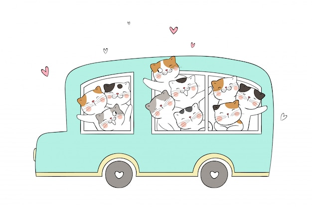 Draw funny cat in green pastel bus