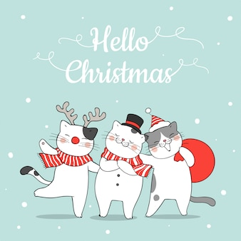 Draw funny cat in snow for christmas and new year.