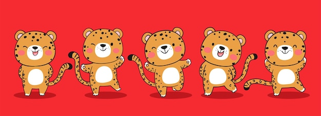 Draw funny jaguar tiger on red for christmas and new year