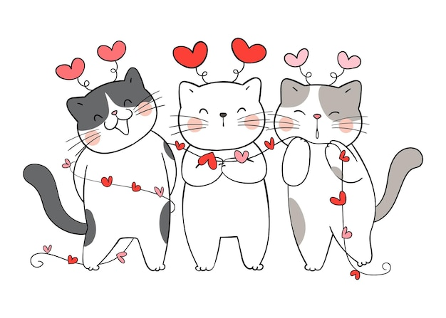 Draw funny love cat with little heart for valentine day