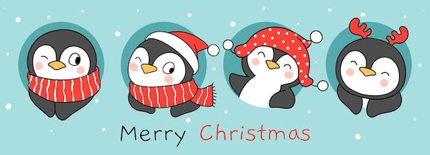 새해와 크리스마스를 위해 눈으로 재미있는 펭귄을 그립니다.