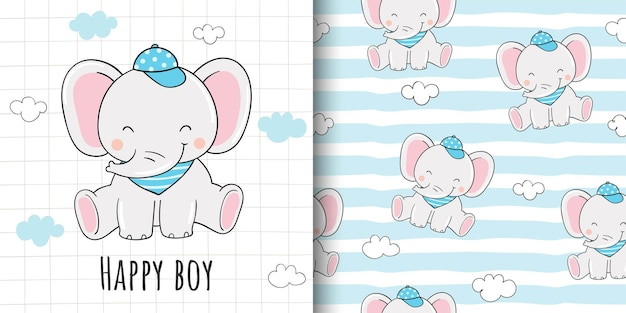 직물 섬유 어린이를위한 인사말 카드 및 패턴 코끼리 소년 그리기