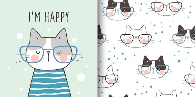 グリーティングカードを描き、子供のためのパターン猫を印刷します