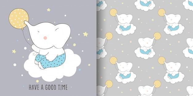 Нарисуйте поздравительную открытку и напечатайте рисунок слона для малыша.
