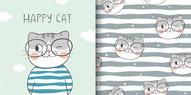 幸せな猫のグリーティングカードとプリントパターンを描画します。