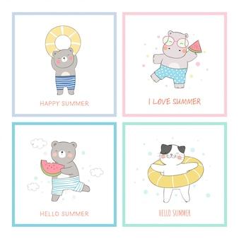 Нарисуйте открытку животного для летнего отдыха.