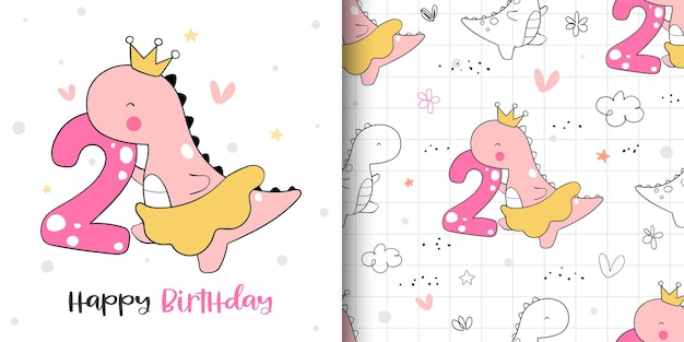 Draw greeting card and pattern of dinosaur girl birthday party.