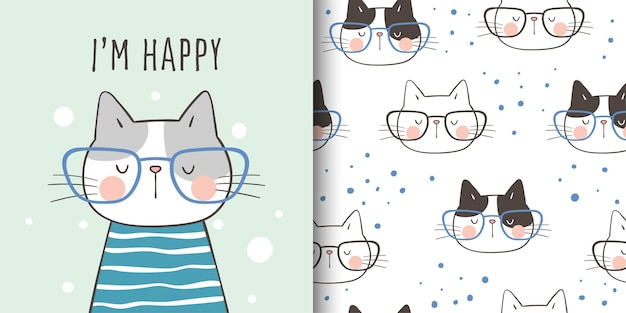 Draw greeting card and print pattern cat for kid