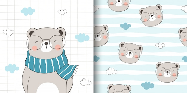 Draw greeting card and print pattern of cute bear for fabric textiles kids.