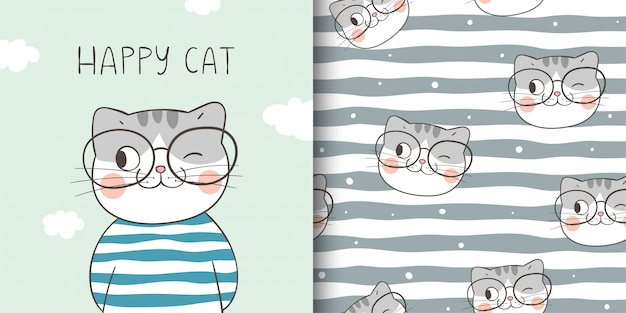 Draw greeting card and print pattern of happy cat.