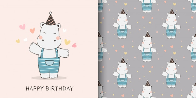 Draw greeting card and print pattern of hippo for fabric textiles kids