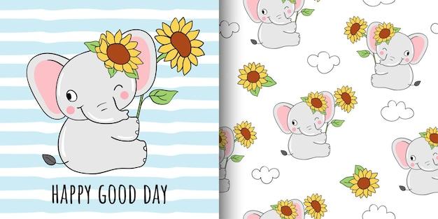 Draw greeting card of sunflower elephant