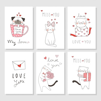 Draw greeting card for valentine's day with cat and pug dog.