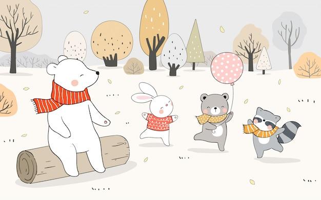 Нарисуйте счастливого животного, медведя, кролика, енота, играющего в лесу осенью.