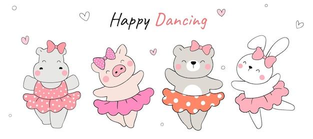Нарисуйте счастливые танцы животных девушка забавная концепция мультяшный стиль