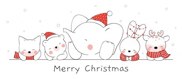 Нарисуйте счастливое животное в снегу на рождество и новый год.