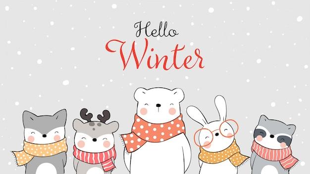 Нарисуйте счастливое животное на снегу для зимы и рождества.