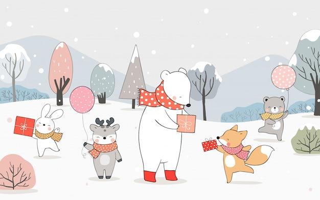Нарисуйте счастливого медведя, лисицу и кролика, играющего в снегу.