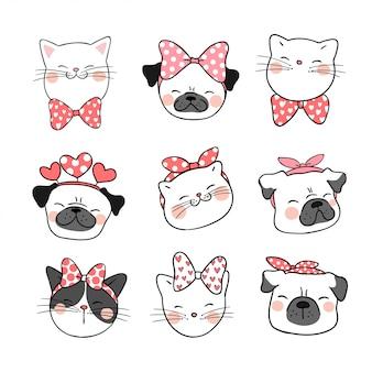 猫とパグ犬の頭を甘い弓で描きます。
