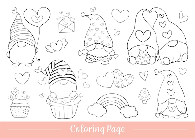 Draw illustration coloring page of gnome for valentine day.