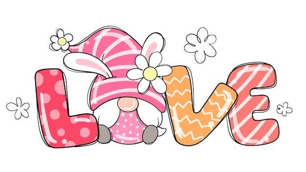 Нарисуйте любовный гномик на пасху и весну