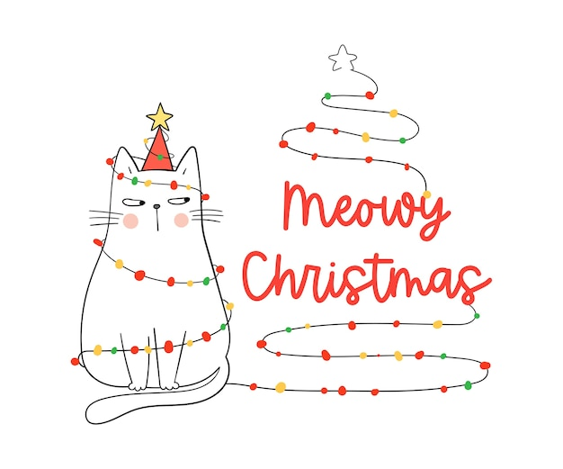 Draw meowy christmas white cat.for winter and new year.