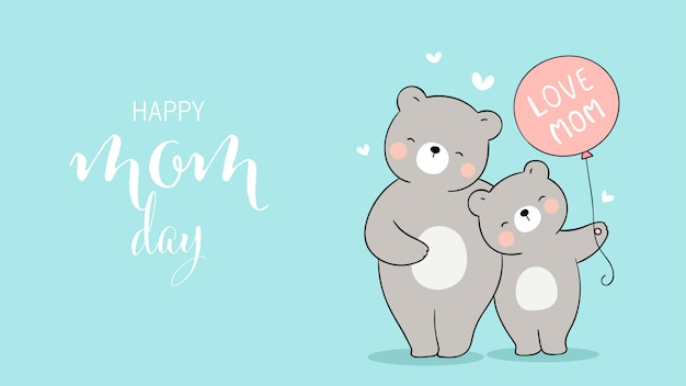 Draw mom bear and baby holding balloon.for mother's day.
