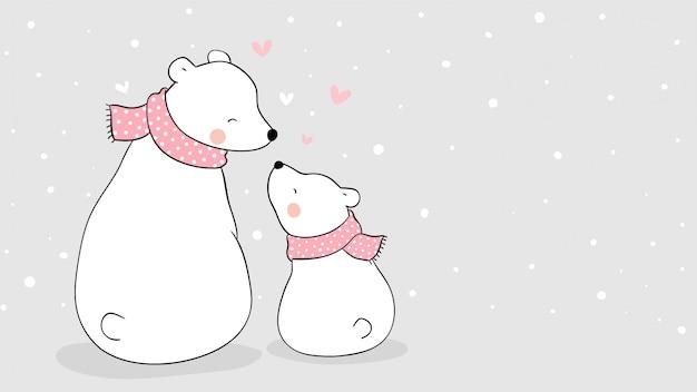 母シロクマと雪の中で座っている赤ちゃんを描きます。