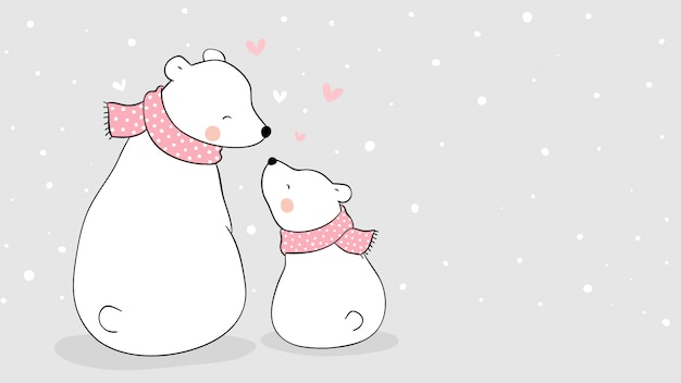 Draw  mom polar bear and baby sitting in snow for mother's day.
