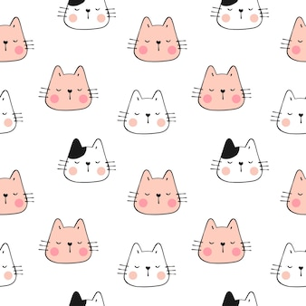 Draw pattern pastel color face of cat.doodle style.
