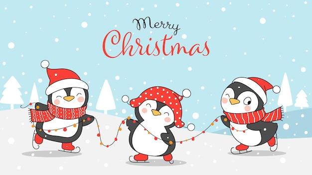 크리스마스와 겨울을 위해 눈 속에서 노는 펭귄을 그립니다.