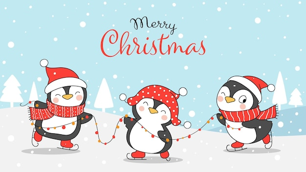 Draw penguin playing in snow for christmas and winter