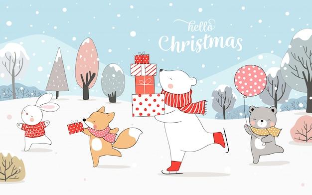 Нарисуйте белого медведя и кролика, играющих в снегу на рождество.