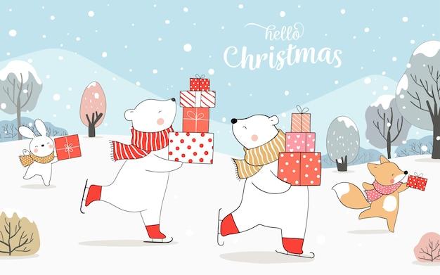 Draw polar bear and fox rabbit playing in snow.