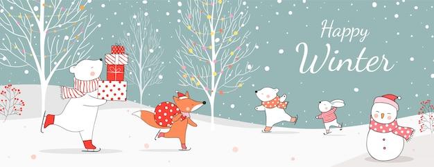 Нарисуйте белого медведя, держащего подарки, и лису с подарочной сумкой на рождество.