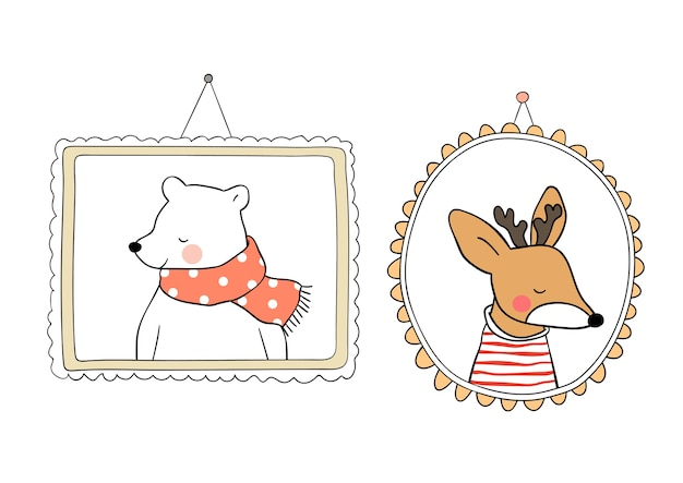 Draw  portrait bear and deer in vintage frame