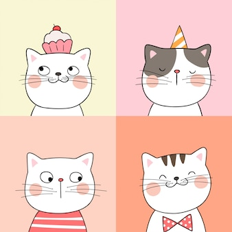 Draw portrait of cute cat on pastel color doodle style.