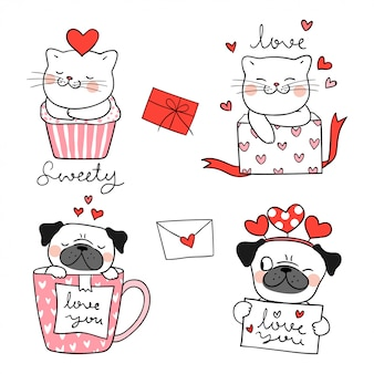Draw portrait cute cat and pug dog for valentine.