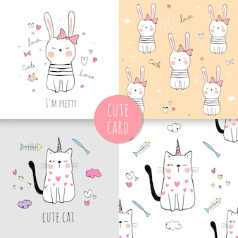 Draw print pattern cat and rabbit for fabric textiles kids.