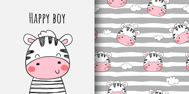 Draw print pattern cute zebra for fabric textiles kids