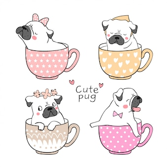 Draw pug dog in cup of tea