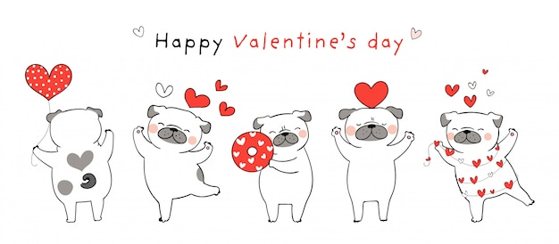 Draw pug dog with little red hearts for valentine.