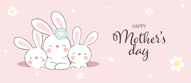 Draw  rabbit and cute baby for mother's day.