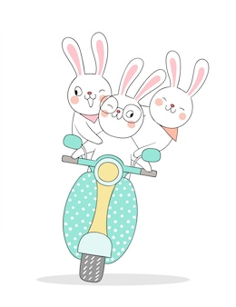 Draw rabbit driving scooter so funny.