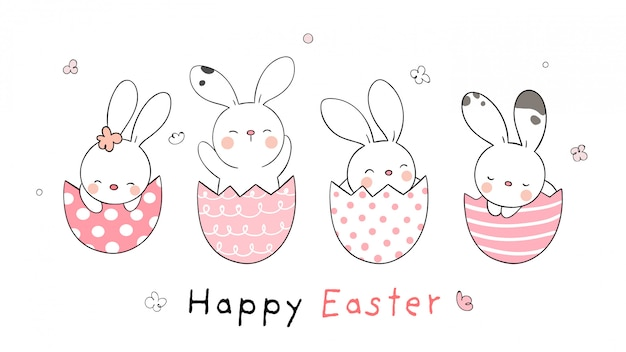 Draw rabbit in eggs for easter day doodle cartoon style.