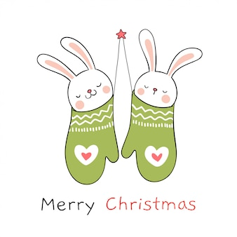 Draw rabbit in green mittens for christmas day and new year.