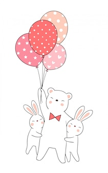 Draw rabbit hug bear holding balloon.